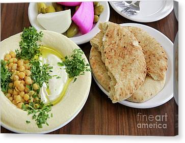 A Plate Of Ready To Eat Hummus Canvas Print