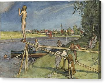 A Pleasant Bathing-place. From A Home Canvas Print by Carl Larsson