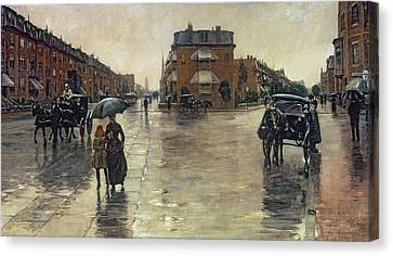 A Rainy Day In Boston Canvas Print by Childe Hassam