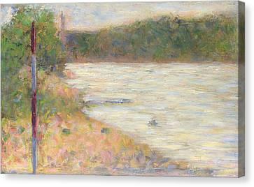 Seurat Canvas Print - A River Bank The Seine At Asnieres by PixBreak Art