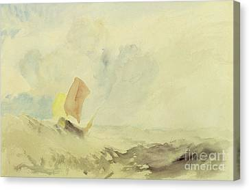 A Sea Piece  A Rough Sea With A Fishing Boat Canvas Print by Joseph Mallord William Turner