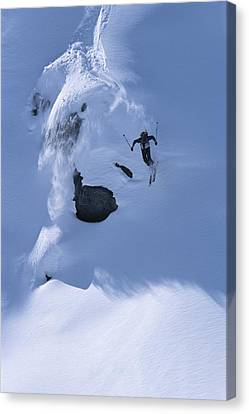 A Skier In The Selkirk Range, British Canvas Print by Jimmy Chin