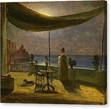 Fearnley Canvas Print - A Terrace In Amalfi In Moonlight by Thomas Fearnley
