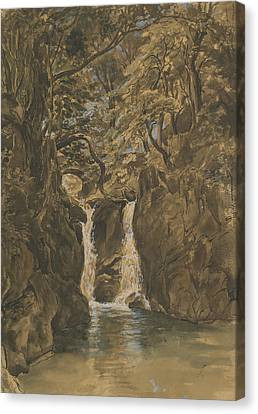 Fearnley Canvas Print - A View Of Lower Rydal Falls, Cumbria by Thomas Fearnley