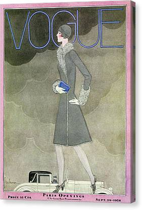 A Vintage Vogue Magazine Cover From 1928 Canvas Print by Georges Lepape