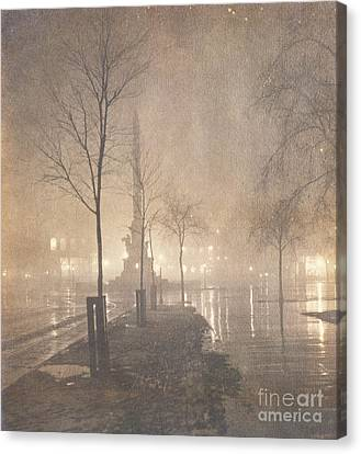 A Wet Night  Columbus Circle Canvas Print by William Fraser
