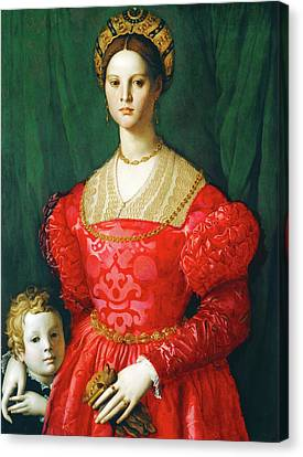 A Young Woman And Her Little Boy Canvas Print by Bronzino