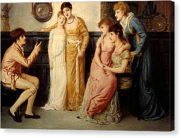 A Youth Relating Tales To Ladies Canvas Print by Simeon Solomon