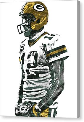 Aaron Rodgers Green Bay Packers Pixel Art 5 Canvas Print by Joe Hamilton