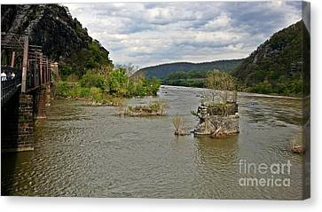 Abandoned Bridge Piers At Harpers Ferry Canvas Print by Ben Schumin
