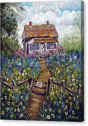 Canvas Print featuring the painting Abandoned House by Quwatha Valentine