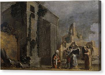 Abraham And The Three Angels Canvas Print