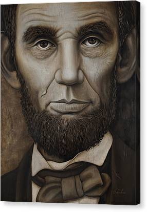 Canvas Print featuring the painting Abraham Lincoln On Wood by Cindy Anderson