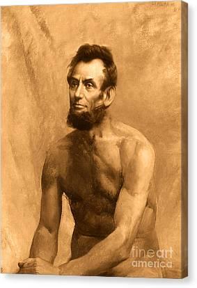 Abraham Lincoln Nude Canvas Print by Karine Percheron-Daniels