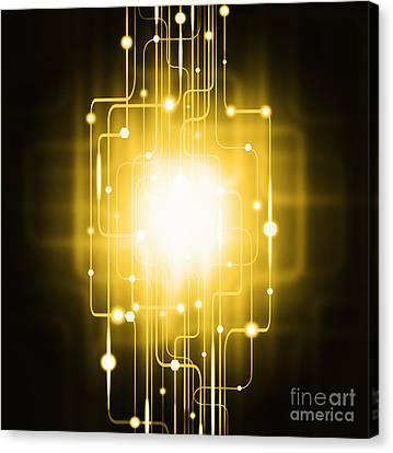 Abstract Circuit Board Lighting Effect  Canvas Print by Setsiri Silapasuwanchai