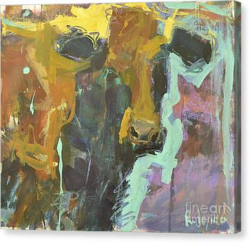 Canvas Print featuring the painting Abstract Cow Painting by Robert Joyner