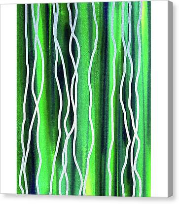 Abstract Lines On Green Canvas Print by Irina Sztukowski