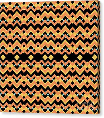 Abstract Orange, Black And Cyan Pattern For Home Decoration Canvas Print by Pablo Franchi