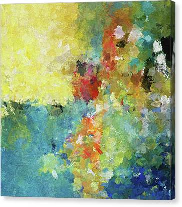 Canvas Print featuring the painting Abstract Seascape Painting by Ayse Deniz