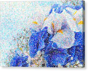 Abstract  Still Life Of Flowers Bouquet  With Blue Hydrangeas, Irises Canvas Print by Celestial Images