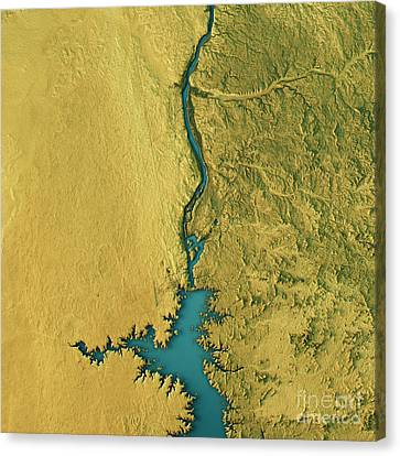 Aswan Dam Topographic Map Natural Color Top View Canvas Print by Frank Ramspott