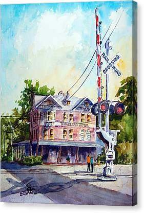 Canvas Print featuring the painting Across The Tracks by Ron Stephens