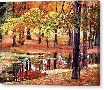 Fallen Leaf Canvas Print -  After The Rain by David Lloyd Glover