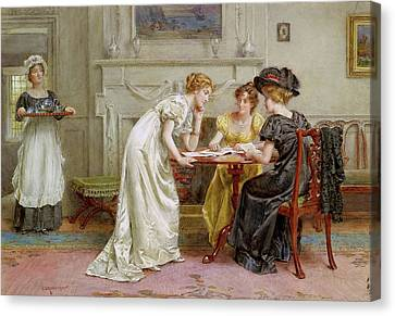 Afternoon Tea Canvas Print by George Goodwin Kilburne