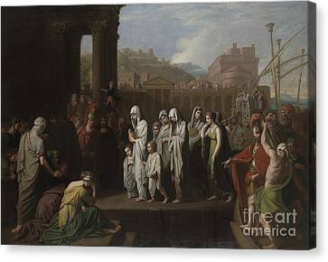 Agrippina Landing At Brundisium With The Ashes Of Germanicus Canvas Print by Benjamin West