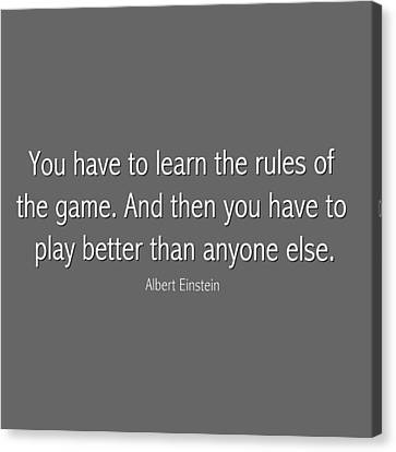 Albert Einstein Famous Quote In Gray Canvas Print by Celestial Images