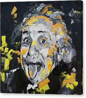 Canvas Print featuring the painting Albert Einstein by Richard Day