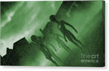 Bizarre Canvas Print - Aliens In Green Fog by Raphael Terra