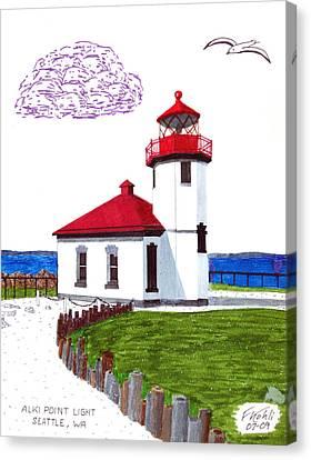 Alki Point Light Canvas Print by Frederic Kohli