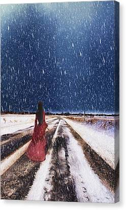 Alone In The Cold Canvas Print by Darren Fisher