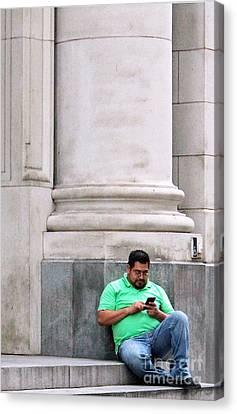 Alone With The Phone Canvas Print by Joe Jake Pratt