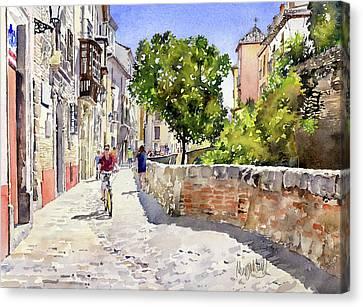 Alongside The River Darro Granada Canvas Print