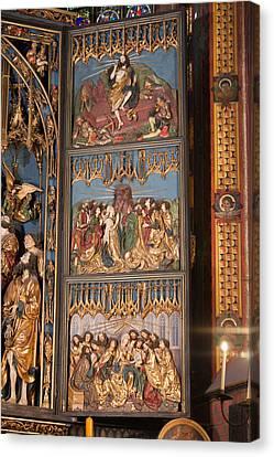 Altarpiece By Wit Stwosz In St. Mary's Basilica Canvas Print by Artur Bogacki