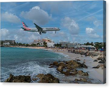 American Airlines Landing At St. Maarten Canvas Print by David Gleeson