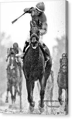 Computing Canvas Print - American Pharoah And Victor Espinoza Win The 2015 Preakness Stakes by Thomas Pollart