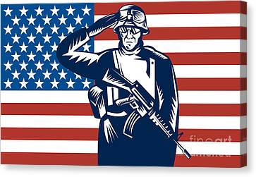 American Soldier Saluting Flag Canvas Print by Aloysius Patrimonio