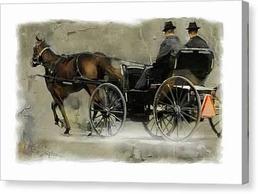 Old Wagon Wheel Canvas Print - Amish Country by Bob Salo