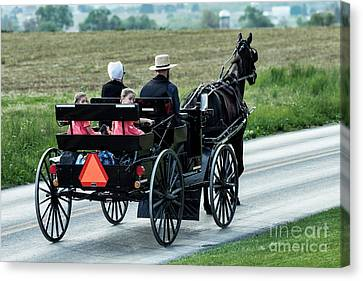 Amish Family Canvas Print by John Greim