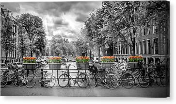 Amsterdam Gentlemen's Canal Panoramic View Canvas Print by Melanie Viola