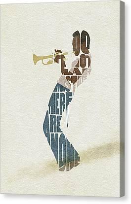 Canvas Print featuring the digital art Miles Davis Typography Art by Inspirowl Design