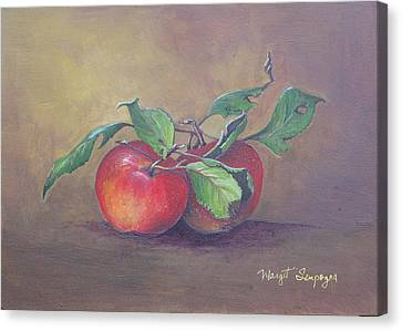 Canvas Print featuring the painting An Apple A Day  by Margit Sampogna