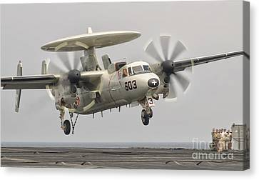 An E-2c Hawkeye Landing On The Flight Canvas Print by Giovanni Colla