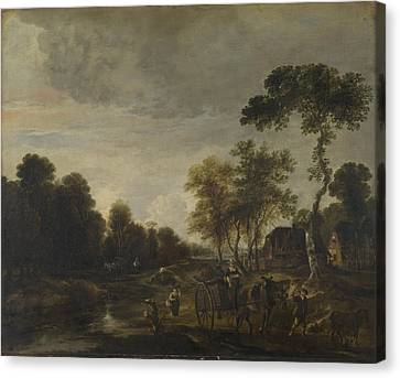 An Evening Landscape With A Horse And Cart By A Stream Canvas Print by Aert van der Neer