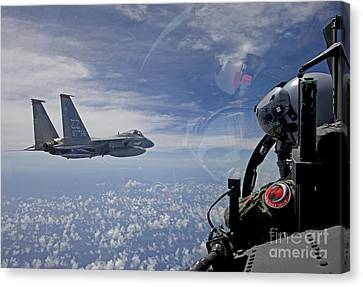 An F-15 Eagle Pilot Flies In Formation Canvas Print by HIGH-G Productions