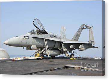 251 Canvas Print - An Fa-18c Hornet On The Flight Deck by Giovanni Colla