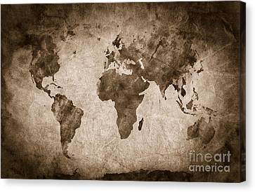 Pencil Sketch Canvas Print - Ancient Old World Map by Michal Bednarek